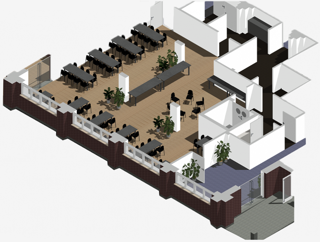 3D render of cafe